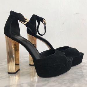 Shoes - Michael Kors Black and Gold Platform Heels